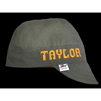 Customize your cap! Olive/Military Green Prewashed Canvas Welding Cap