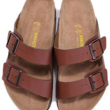 Birkenstock Leather Cork Flats Shoes Women Men Casual Sandals Shoes Soft Footbed Slippers-48