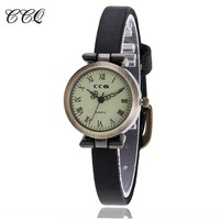 CCQ Luxury Brand Roma Retro Vintage Cow Leather Bracelet Watch Women Slim WristWatch Casual Quartz Watch Relogio Feminino 1909