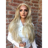 Pale Ash Blonde Balayage lace part wig 22""