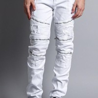Faded Distressed Zipper Biker Jeans DL1088 - HH8H