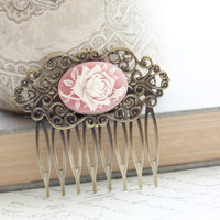 Floral Hair Comb, Ivory Cream Rose, Pink Cameo, Shabby Chic, Bridal, Wedding, Vintage Style, Hair Accessories, Antique Brass Filigree