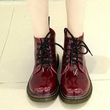 Plus Size40 Cow Muscle Heel Pig Patent Leather Boots Women School Style Lace Up Shoes