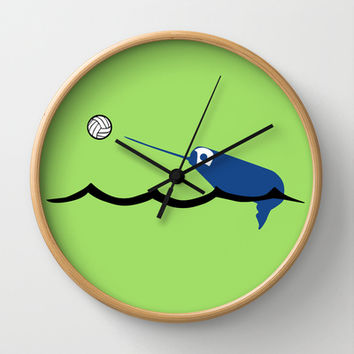 Water Polo Narwhal Wall Clock by Zany Du Designs