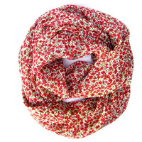 Holiday Floral Infinity Circle Scarf Pretty Loop Eternity Scarf Cute Tube Scarf Deep Rose Green White Womens Teen Scarf Holiday Gift