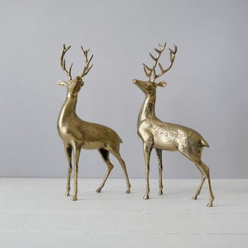 Vintage Brass Deer - Brass Stags - Woodland Home Decor - Brass Deer - Gold Home Decor - Regency Decor - Brass Deer Statue - Deer Statue