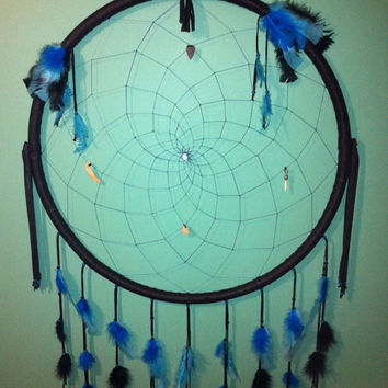 Very Large Dream Catcher 30 inches wide Glow in the dark  black buckskin horses tooth deer antler wolf fang arrow head