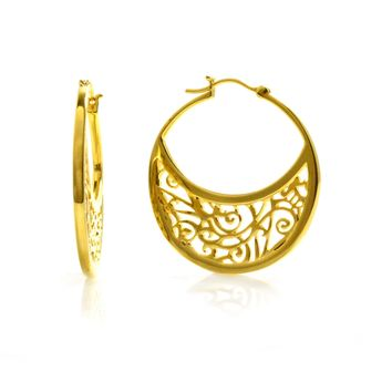Large Gold Plated Hoop Earrings with Signature Design