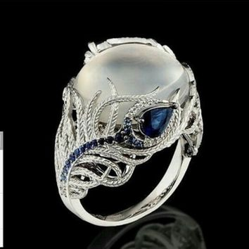 Blue Diamond Flower Moonstone Rings European and American Creativity