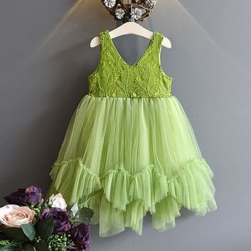 Summer Style Girls Dress New Cute Sequins Princess Dress Baby Dresses Crochet Chffion Green Tutu Princesse Costumes Disfraz Elsa