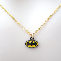 Batman necklace,  batman logo necklace, superhero necklace, necklace for her, cute, minimal, jewelry