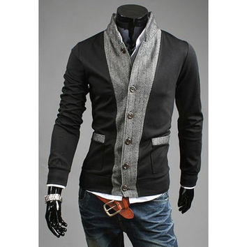 Black and Gray Stand Collar Long Sleeves Coat