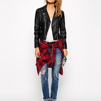 New Look Petite Leather Look Biker Jacket at asos.com
