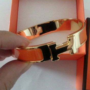 Authentic Hermes H Clic Clac Narrow Bracelet PM orange Enamel Gold Cuff Bangle