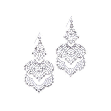 Silver Filigree Crystal Chandelier Earrings