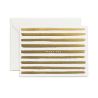 thank you gold stripes greeting card
