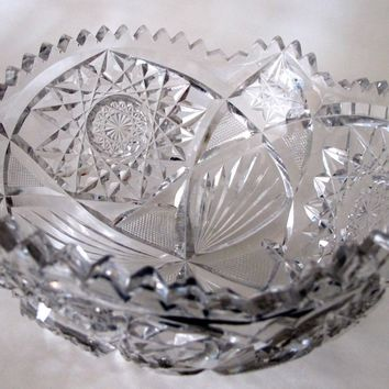 "American Brilliant Period hand Cut Glass Antique 8"" bowl ABP"