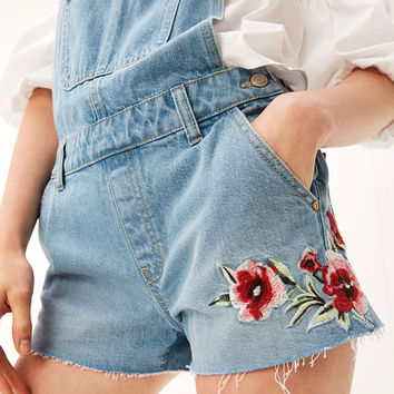 Denim dungarees with floral embroidery - Denim Collection - Bershka United States
