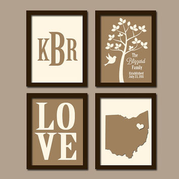 Great Personalized Family Wall Art Custom Family Tree Print State Wall Art  Monogram Initial LOVE Bird Tree