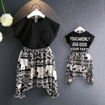 2017 New Summer Mom and Baby Clothes Mother and Daughter Pants Mom Son Outfits Haren Pants Two Pieces Set Children Kids Clothing