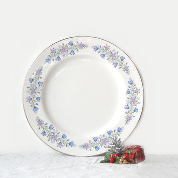 ON SALE - Spode Maytime Dinner Plate, Lavender Blue Flowers, Vintage English Bone China