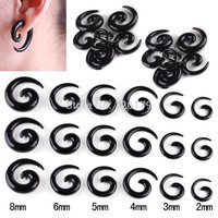 Hot Selling 6Pairs Body Jewelry Acrylic Spiral Taper Tunnel Ear Stretcher Plugs Expanders Pircing Jewelry Black Drop Ship