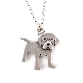 Beagle Puppy Dog Breed Shaped Charm Necklace in Silver