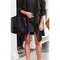 Black Open Front Draped Cardigan