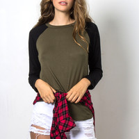 Jac Parker Baseball Sweater - Olive