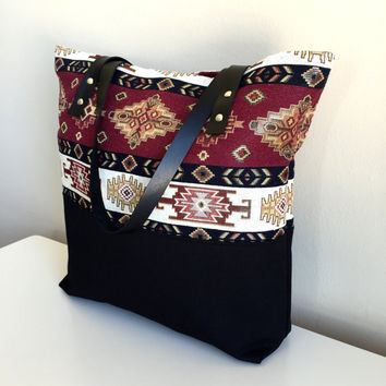 Ethnic Tote Bag,Boho Carpet Tote Bag,Turkish Kilim Tote,Leather Strap Tote Bag,Boho Tote Bag,Carpet Tote,Gypsy Tote Bag,Bohemian Tote Bag