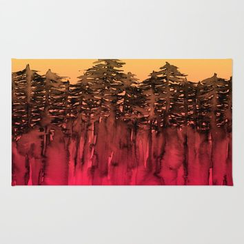 FOREST THROUGH THE TREES 12 Hot Pink Magenta Orange Black Landscape Ombre Abstract Painting Outdoors Rug by EbiEmporium
