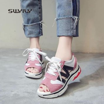 SWYIVY Sneakers Women Toning Shoes Fish Mouth Thick-sole 2018 New Summer Sandals Muffin Heel Women Girl Sport Sandals Breathable