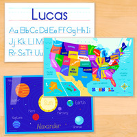 Educational Personalized Placemat Set of 3 by Olive Kids