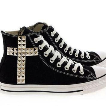 DCCKHD9 Studded Converse Silver Cross pattern studs with converse Black high top by CUSTOMDUO