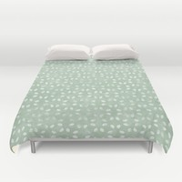 Sea foam Green White Petals  Duvet Cover by KCavender Designs