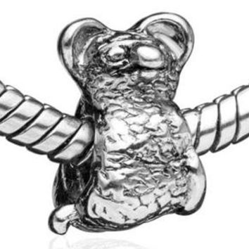 Koala Bear European Charm | Authentic Pugster | Silver Toned Rainforest Animal Sloth Gift Spacer Bead for Bracelet Necklace