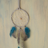 Blue Gray Dreamcatcher // Car Dreamcatcher // Blue Leather Dreamcatcher // Boho Wall Hanging  // Bedroom decor // Best Friend Gift