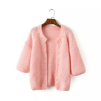 Pearl Sleeve Knitted Cardigan