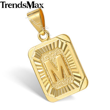 Trendsmax High Quality Yellow Gold Filled Initital Capital Letter Pendant Mens Chain Womens Fashion Jewelry GP36