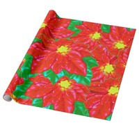 Red Orange Poinsettias Wrapping Paper