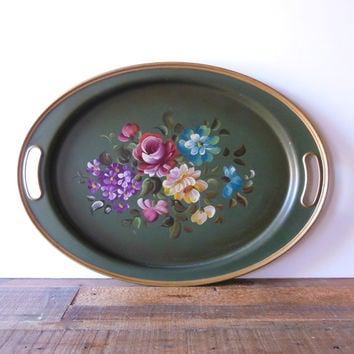 vintage Nashco tole tray, hand painted floral, green oval handled tray, housewares and collectibles, 19 and a half x 14 inches