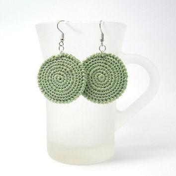 Round Crochet Earrings Fabric Jewelry in Circles Olive