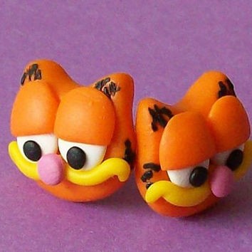 garfield stud earrings polymer clay fimo handmade