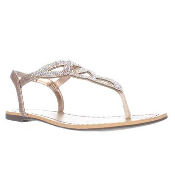 MG35 Swirlz Sparkle Flat Sandals, Blush, 7 US