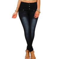 Dark Denim 3 Button High Waist Skinny Jeans