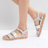 Head Over Heels by Dune Blue Cork Flatform Sandals at asos.com