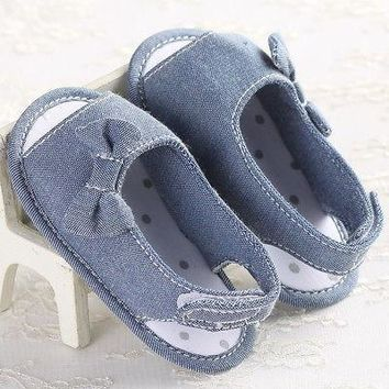 Cute Baby First Shoes Toddler girls Denim bow knot