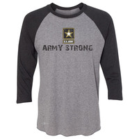 Zexpa Apparel™ Army Strong US Army Unisex - 3/4 Sleevee Raglan Tee Military Star Cool Tee