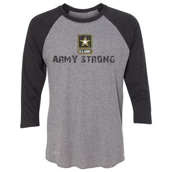 Army Strong US Army Unisex - 3/4 Sleevee Raglan Tee Military Star Cool Tee