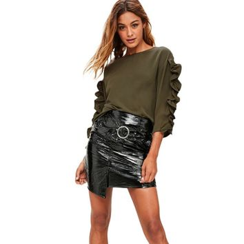 Feitong Women Blouse Casual Solid Ruched Stitching Hot Sale Long Sleeve Loose O-Neck Tops Shirt Blusas Female